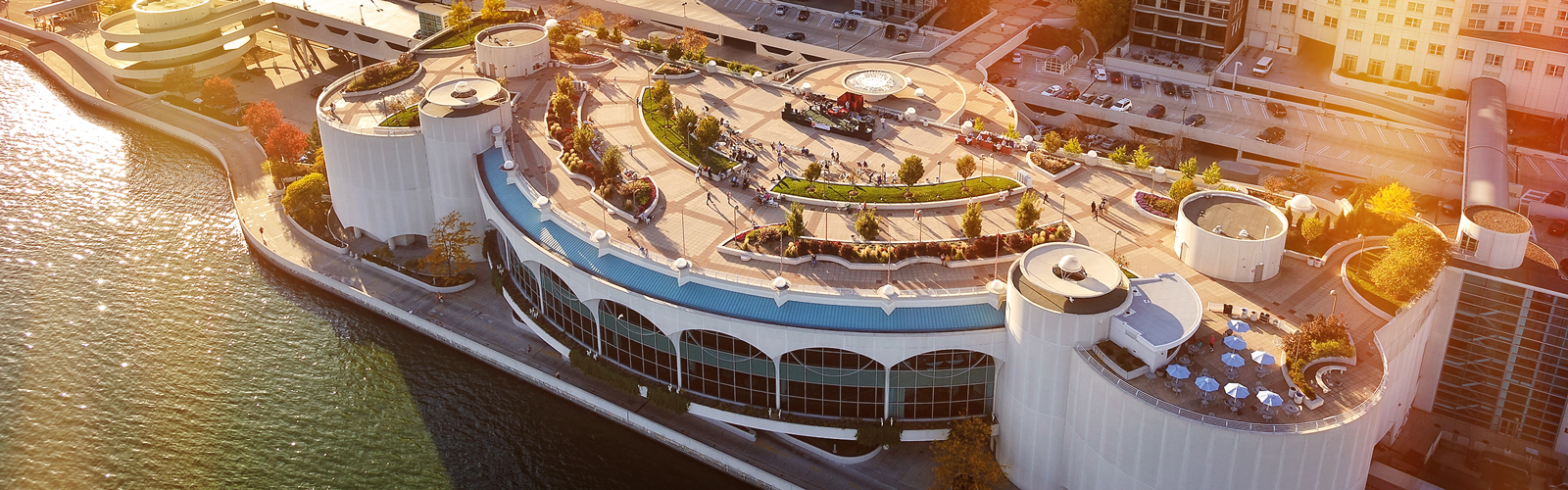 Aerial photograph of the Monona Terrace at dawn