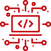 Line art image of a laptop with; code on the screen and circuits