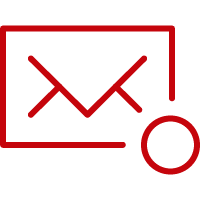 Line art image of an envelope with a tiny number one